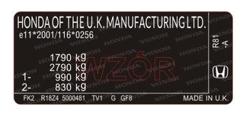 Табличка / наклейка стартера Honda доставка товаров из Польши и Allegro на русском
