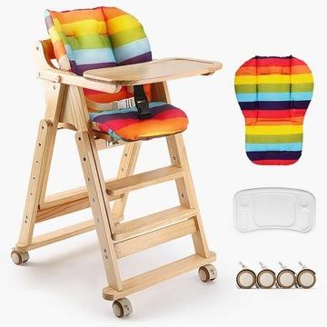 Регулируемый детский стульчик для кормления деревянный доставка товаров из Польши и Allegro на русском