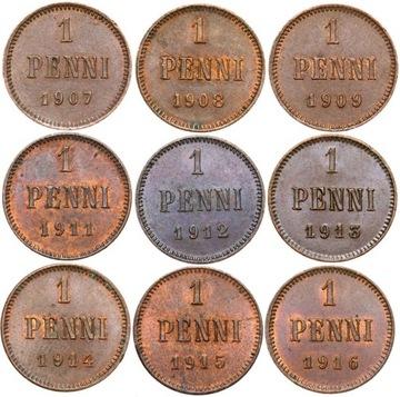 Финляндия - КОМПЛЕКТ - 9 монет - 1 Пенни 1907-1916 доставка товаров из Польши и Allegro на русском
