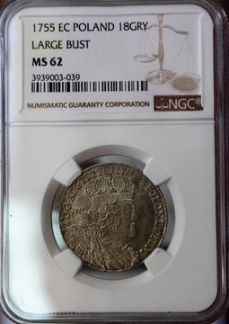 August III Sas, Орт 1755 EC - NGC MS62 доставка товаров из Польши и Allegro на русском