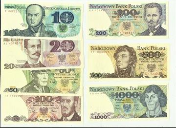 Набор банкнот ПНР от 10 до 1000 руб 7 x UNC доставка товаров из Польши и Allegro на русском