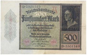 Германия - КУПЮРА - 500 Марок 1922 - Ro: 70 доставка товаров из Польши и Allegro на русском
