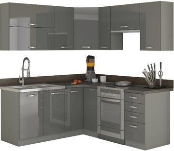 Кухонная мебель угловые 190x170 см / серый блеск доставка товаров из Польши и Allegro на русском