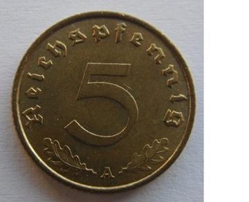 5 ПФЕННИГОВ 1938 ГОДУ III Рейх Немецкий (1933 - 1945) доставка товаров из Польши и Allegro на русском