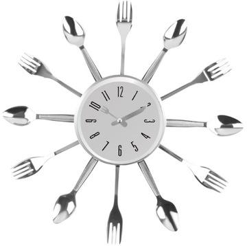 Настенные часы Кухня столовые Приборы для Кухни 3D Хром доставка товаров из Польши и Allegro на русском