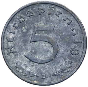 + Германия - СОЮЗНИКИ - 5 Reichspfennig 1947 D - цинк доставка товаров из Польши и Allegro на русском