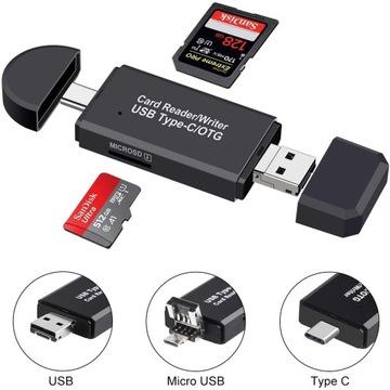 3w1 Czytnik kart SD microSD USB C Micro USB 3.0 доставка товаров из Польши и Allegro на русском