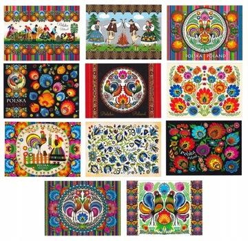 ПОЛЬША фольклор, народное искусство открытки 11 шт доставка товаров из Польши и Allegro на русском