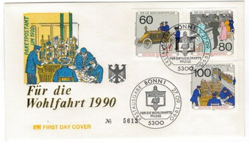 FDC Германия 1990 почта старый автомобиль история доставка товаров из Польши и Allegro на русском