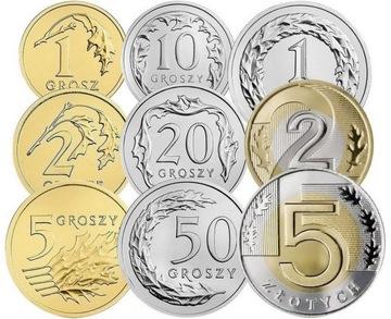 Комплект циркуляционных монет до 2017 года. UNC 9 шт доставка товаров из Польши и Allegro на русском