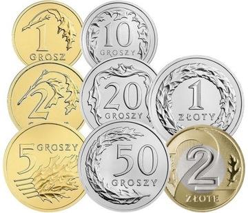 Комплект циркуляционных монет 2018 года. UNC 8 шт доставка товаров из Польши и Allegro на русском