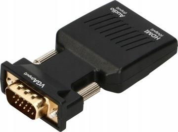 Konwenter Adapter VGA D-SUB do HDMI + Dźwięk Audio доставка товаров из Польши и Allegro на русском