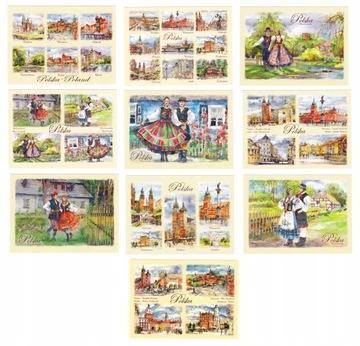 ПОЛЬША города и фольклор, открытки, акварели 10 шт доставка товаров из Польши и Allegro на русском