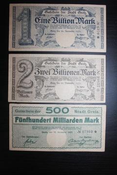 GREIZ NIEMCY 1923 ZESTAW EINE ZWEI BILLIONEN MARK доставка товаров из Польши и Allegro на русском