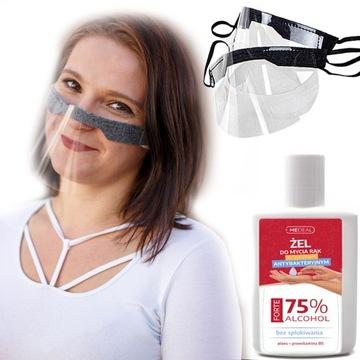 Mini przyłbica maska półprzyłbica 2szt +MOCNY ŻEL доставка товаров из Польши и Allegro на русском