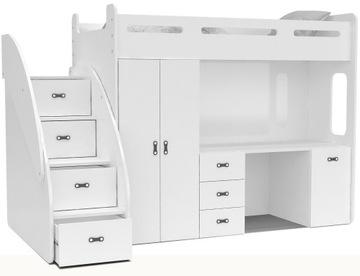Łóżko piętrowe ZUZIA PLUS materace schodki biurko