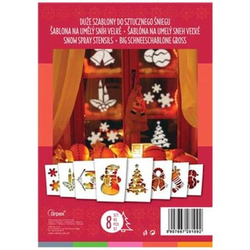 ТРАФАРЕТЫ для искусственного снега БОЛЬШИЕ A4 рождество 8шт доставка товаров из Польши и Allegro на русском