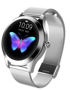 Zegarek Damski Smartwatch Srebrny Pulsometr KW10