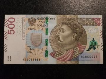 Банкнота 500 рублей Серии АЕ 3033333 доставка товаров из Польши и Allegro на русском