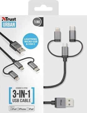3 в 1 micro-USB, USB-C кабель Lightning 1м 480Mbps доставка товаров из Польши и Allegro на русском