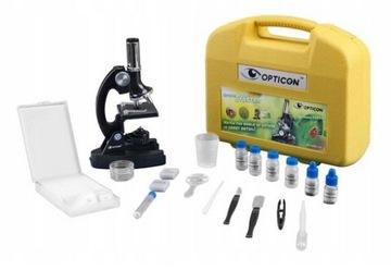 Микроскоп OPTICON - Лаборатории Начальная 1200x + аксессуары доставка товаров из Польши и Allegro на русском