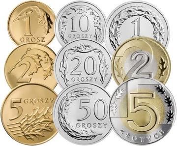 Комплект циркуляционных монет 2008 года. UNC 9 шт доставка товаров из Польши и Allegro на русском