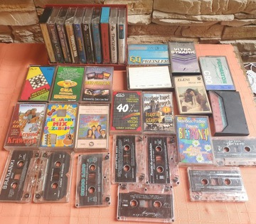 Старые кассеты magnetofonowe набор 33 шт + подставка доставка товаров из Польши и Allegro на русском