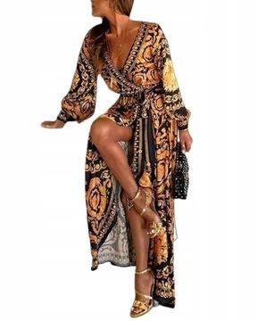 Платье элегантный винтаж микс цветов, 42 XL доставка товаров из Польши и Allegro на русском