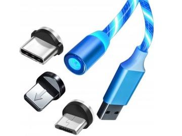 KABEL MAGNETYCZNY 3W1 ŁADOWARKA USB C IPHONE MICRO доставка товаров из Польши и Allegro на русском