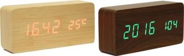 Деревянный СВЕТОДИОДНЫЕ часы будильник термометр USB доставка товаров из Польши и Allegro на русском
