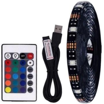 LED TV USB 1M TAPE RGB 5V подсветка + ПУЛЬТ ДИСТАНЦИОННОГО УПРАВЛЕНИЯ доставка товаров из Польши и Allegro на русском