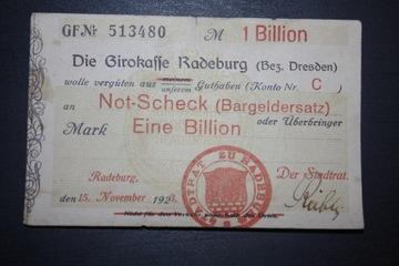 RADEBURG DIE GIROKASSE NIEMCY 1923 1 EINE BILLION доставка товаров из Польши и Allegro на русском
