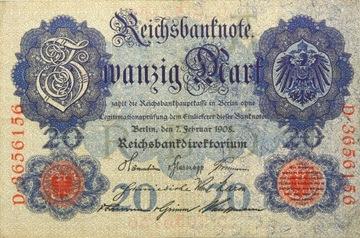 Германия - Империя - БАНКНОТЫ - 20 Марок 1908 доставка товаров из Польши и Allegro на русском