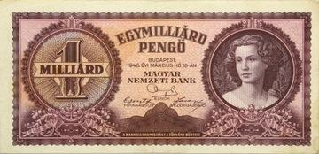 Венгрия - Республика - БАНКНОТА - 1 Миллиард Pengo 1946 доставка товаров из Польши и Allegro на русском
