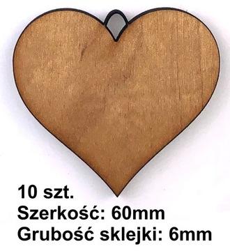 10x DREWNIANE SERCE SERDUSZKO ZAWIESZKA OZDOBA 6cm доставка товаров из Польши и Allegro на русском