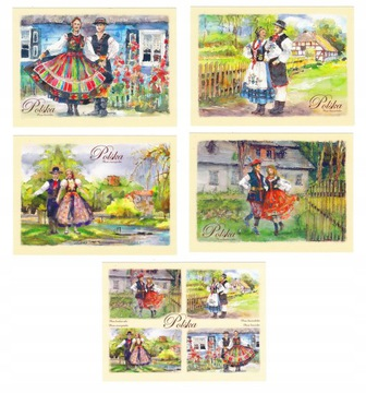 ПОЛЬША ФОЛЬКЛОР, КОСТЮМЫ, открытки, акварели 5 шт доставка товаров из Польши и Allegro на русском