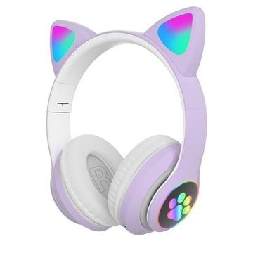 Cat Ear Headphones RGB Bluetooth 5.0 Bass Noise доставка товаров из Польши и Allegro на русском