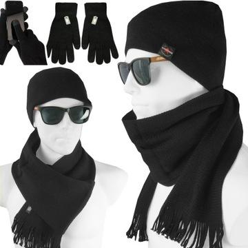 Теплый комплект Мужские, шарф + шляпа + ПЕРЧАТКИ доставка товаров из Польши и Allegro на русском