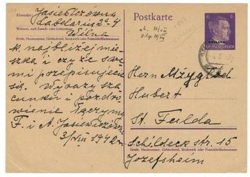 Polska Ostland 1942 Koperta OkN Cp 2 Wilno-Niemcy доставка товаров из Польши и Allegro на русском