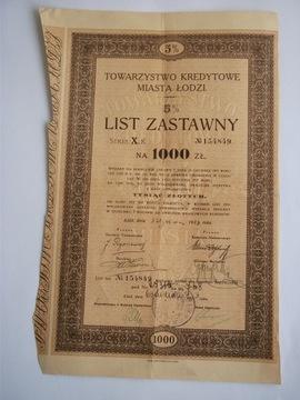 LIST ZASTAWNY TOW. KREDYT. m. ŁODZI 1000 zl. доставка товаров из Польши и Allegro на русском