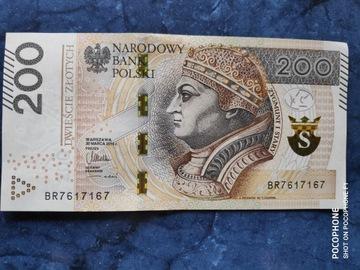 Банкнота в 200 злотых. интересный номер зеркальное отражение доставка товаров из Польши и Allegro на русском