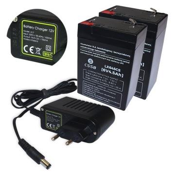 ZESTAW DO AUTKA 2x akumulator 6V 4 5Ah i ładowarka