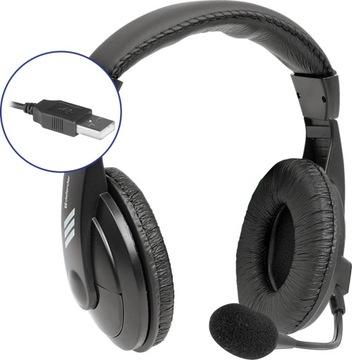 Słuchawki z mikrofonem Gryphon 750U na USB czarne доставка товаров из Польши и Allegro на русском