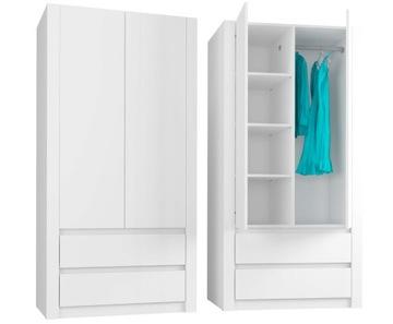 Szafa garderoba 90cm 2d 2sz biała B 20