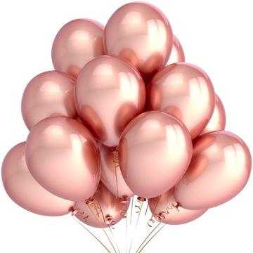 Balony Metaliczne Rose Gold Ślub Party Duże 25szt
