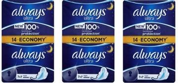 Podpaski higieniczne ALWAYS ULTRA NIGHT 14szt x3