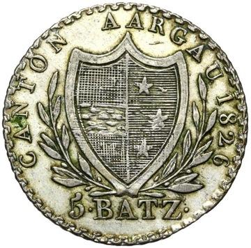 + Швейцария, Aargau 5 Batzen 1826 Серебро - СОСТОЯНИЕ ! доставка товаров из Польши и Allegro на русском