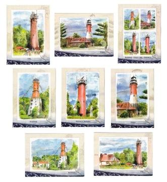 МАЯКИ открытки, акварели 8 шт доставка товаров из Польши и Allegro на русском