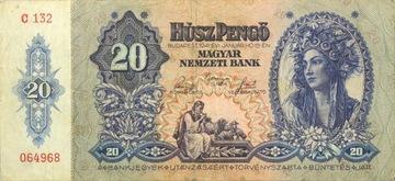 Венгрия - Республика - БАНКНОТЫ - 20 Pengo 1941 доставка товаров из Польши и Allegro на русском