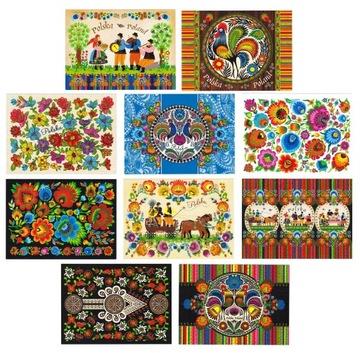 ПОЛЬША фольклор, народное искусство открытки 10 шт доставка товаров из Польши и Allegro на русском